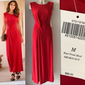 BOSTON PROPER KNOT FRONT MAXI DRESS SMOKIN HOT RED